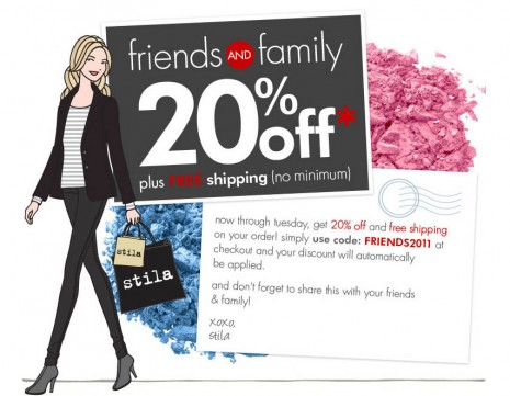 stila fall 2011 friends and family promo code