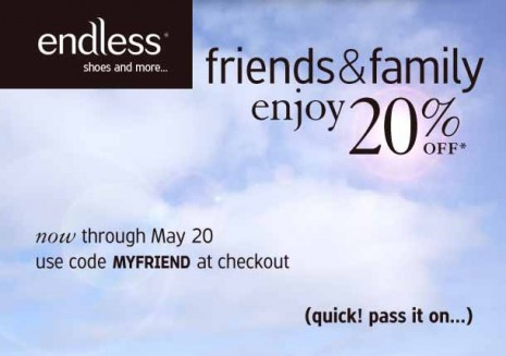 endless coupon code, endless promotional code, endless friends and family, endless sale, shoes, bags, accessories
